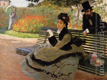 The Beach Aka Camille Monet On A Garden Bench by Claude Oscar Monet - Reproduction Oil Painting