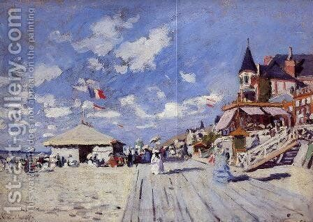 The Boardwalk On The Beach At Trouville by Claude Oscar Monet - Reproduction Oil Painting