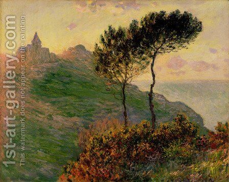 The Church At Varengeville  Against The Sunset by Claude Oscar Monet - Reproduction Oil Painting