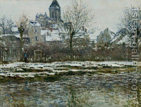 The Church At Vetheuil  Snow by Claude Oscar Monet - Reproduction Oil Painting