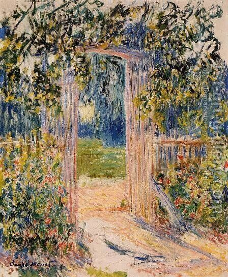 The Garden Gate by Claude Oscar Monet - Reproduction Oil Painting