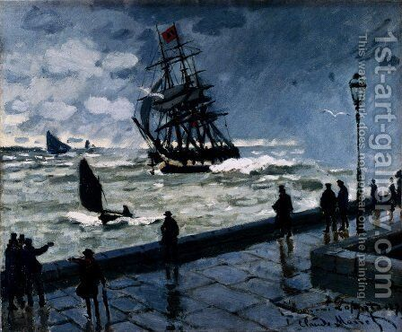 The Jetty Of Le Havre In Rough Westher by Claude Oscar Monet - Reproduction Oil Painting