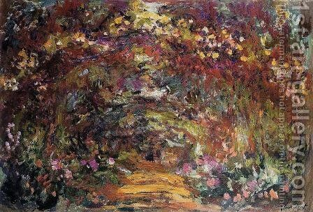 The Path Under The Rose Trellises  Giverny by Claude Oscar Monet - Reproduction Oil Painting