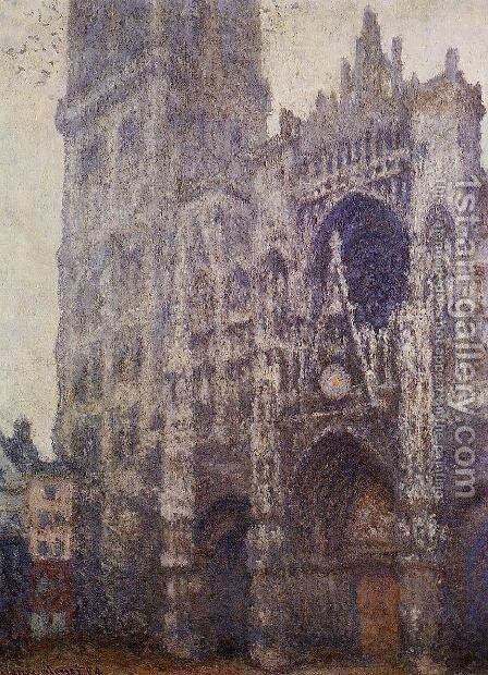 The Portal And The Tour D Albene  Grey Weather by Claude Oscar Monet - Reproduction Oil Painting