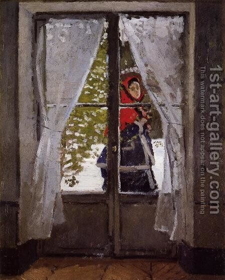 The Red Kerchief  Portrait Of Madame Monet by Claude Oscar Monet - Reproduction Oil Painting