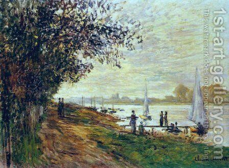 The Riverbank At Le Petit Gennevilliers  Sunset by Claude Oscar Monet - Reproduction Oil Painting
