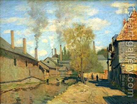 The Robec Stream  Rouen Aka Factories At Deville  Near Rouen by Claude Oscar Monet - Reproduction Oil Painting