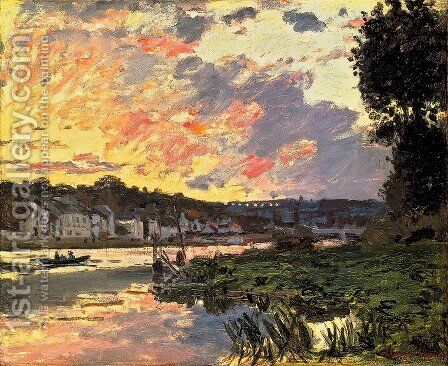 The Seine At Bougeval  Evening Aka Bougival by Claude Oscar Monet - Reproduction Oil Painting