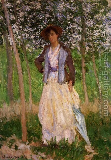 The Stroller (Suzanne Hischede) Aka Taking A Walk by Claude Oscar Monet - Reproduction Oil Painting
