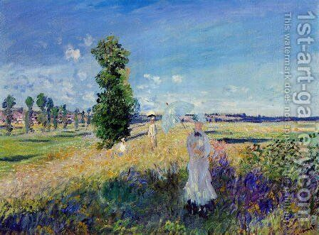 The Walk  Argenteuil by Claude Oscar Monet - Reproduction Oil Painting