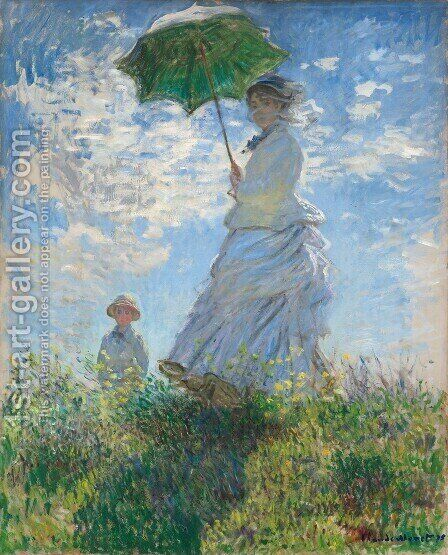 The Walk  Woman With A Parasol by Claude Oscar Monet - Reproduction Oil Painting