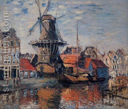 The Windmill On The Onbekende Canal  Amsterdam by Claude Oscar Monet - Reproduction Oil Painting
