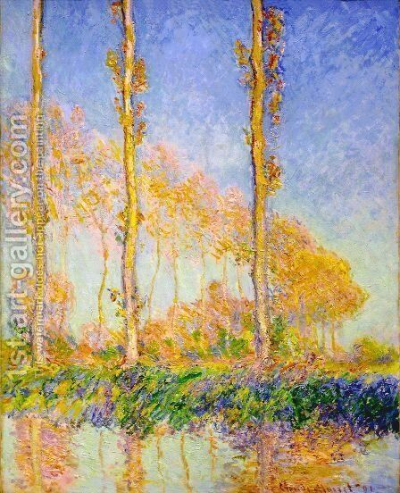 Three Poplar Trees  Autumn Effect by Claude Oscar Monet - Reproduction Oil Painting