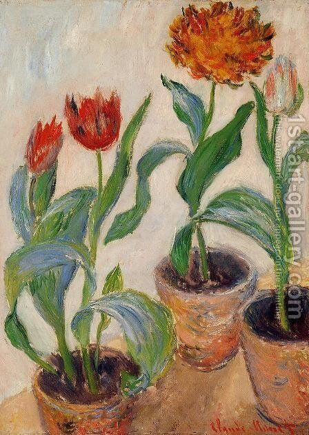 Three Pots Of Tulips by Claude Oscar Monet - Reproduction Oil Painting