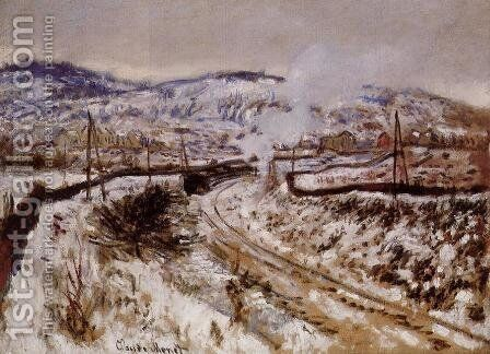 Train In The Snow  Argenteuil by Claude Oscar Monet - Reproduction Oil Painting