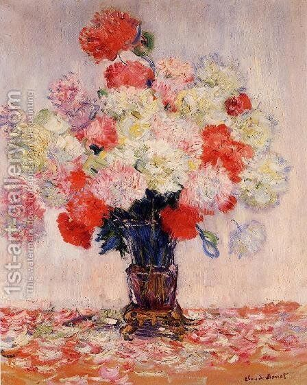 Vase Of Peonies by Claude Oscar Monet - Reproduction Oil Painting