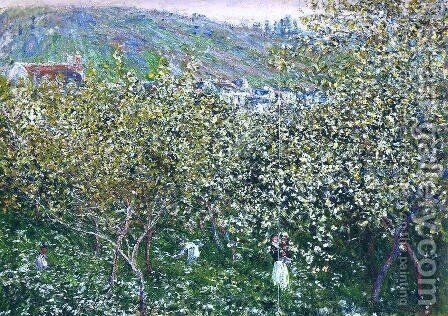Vetheuil  Flowering Plum Trees by Claude Oscar Monet - Reproduction Oil Painting