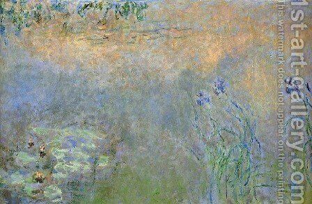 Water Lily Pond With Irises by Claude Oscar Monet - Reproduction Oil Painting