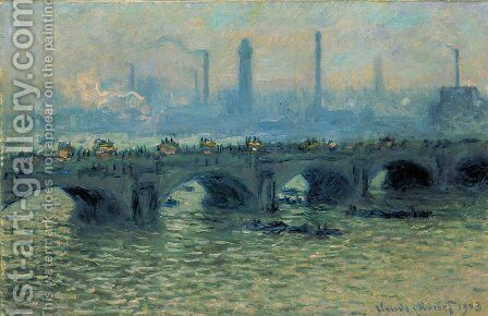 Waterloo Bridge  Grey Weather by Claude Oscar Monet - Reproduction Oil Painting