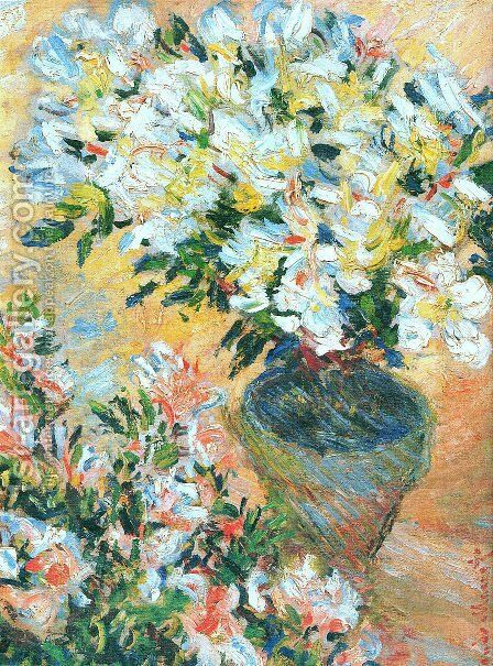 White Azaleas In A Pot by Claude Oscar Monet - Reproduction Oil Painting
