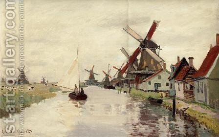 Windmills In Holland by Claude Oscar Monet - Reproduction Oil Painting