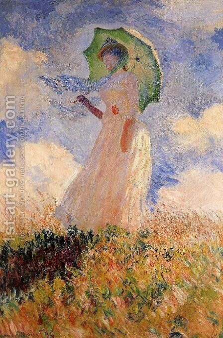 Woman With A Parasol Aka Study Of A Figure Outdoors (Facing Left) by Claude Oscar Monet - Reproduction Oil Painting