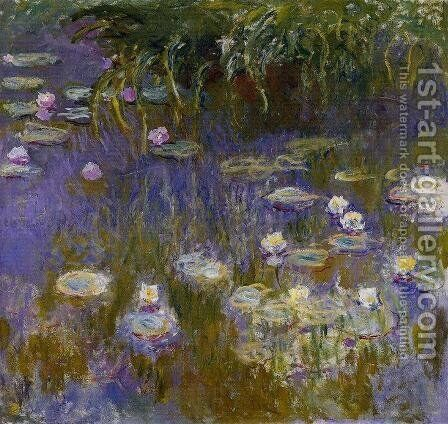 Yellow And Lilac Water Lilies by Claude Oscar Monet - Reproduction Oil Painting