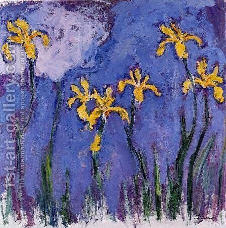 Yellow Irises With Pink Cloud by Claude Oscar Monet - Reproduction Oil Painting