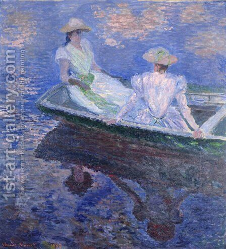 Young Girls In A Row Boat by Claude Oscar Monet - Reproduction Oil Painting