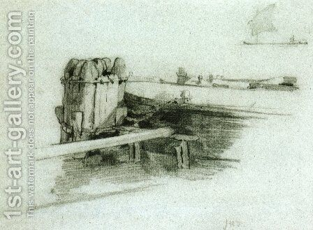 Boat At Bulkhead by John Henry Twachtman - Reproduction Oil Painting