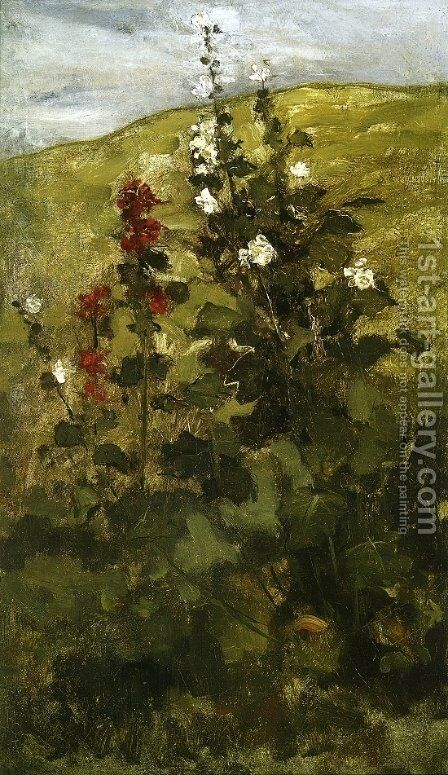 Hollyhocks by John Henry Twachtman - Reproduction Oil Painting