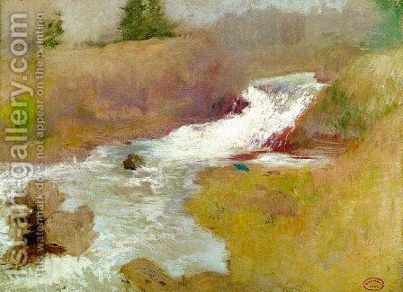 The Cascade In Spring by John Henry Twachtman - Reproduction Oil Painting