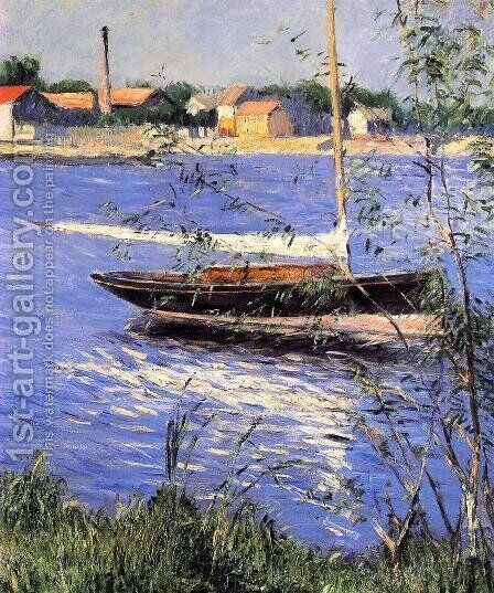 Anchored Boat On The Seine At Argenteuil by Gustave Caillebotte - Reproduction Oil Painting