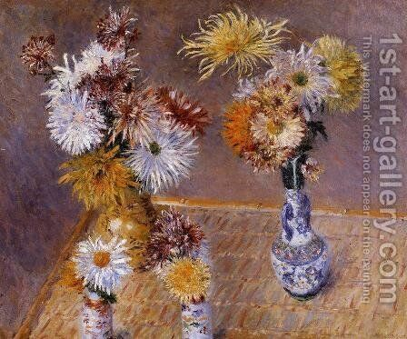 Four Vases Of Chrysanthemums by Gustave Caillebotte - Reproduction Oil Painting
