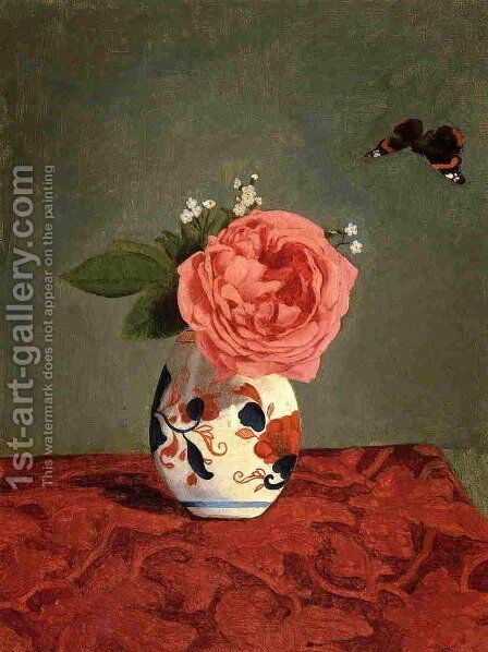 Garden Rose And Blue Forget Me Nots In A Vase by Gustave Caillebotte - Reproduction Oil Painting
