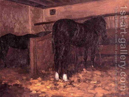 Horses In The Stable by Gustave Caillebotte - Reproduction Oil Painting