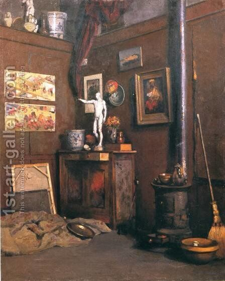 Interior Of A Studio With Stove by Gustave Caillebotte - Reproduction Oil Painting
