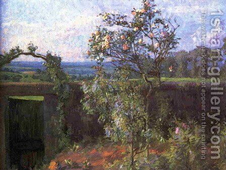 Landscape Near Yerres Aka View Of The Yerres Valley And The Garden Of The Artists Family Property by Gustave Caillebotte - Reproduction Oil Painting