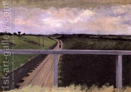 Landscape With Railway Tracks by Gustave Caillebotte - Reproduction Oil Painting