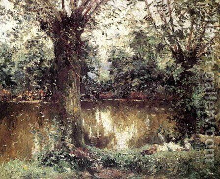 Landscape  Banks Of The Yerres by Gustave Caillebotte - Reproduction Oil Painting