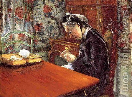 Portrait Of Madame Boissiere Knitting by Gustave Caillebotte - Reproduction Oil Painting