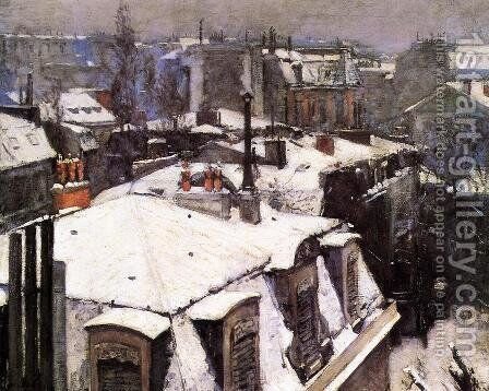 Rooftops Under Snow by Gustave Caillebotte - Reproduction Oil Painting