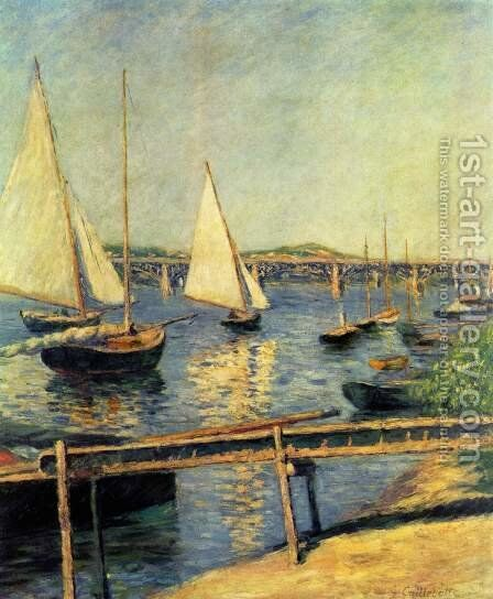 Sailboats In Argenteuil by Gustave Caillebotte - Reproduction Oil Painting