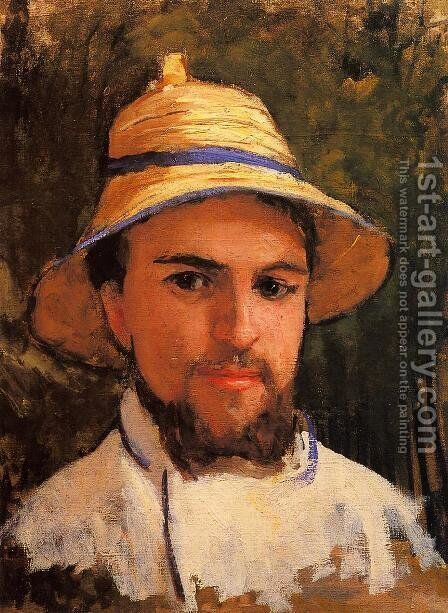 Self Portrait (fragment) Aka Self Portrait Wearing A Summer Hat by Gustave Caillebotte - Reproduction Oil Painting