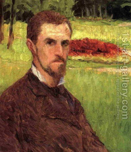 Self Portrait In The Park At Yerres by Gustave Caillebotte - Reproduction Oil Painting