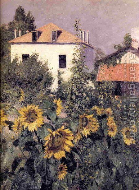 Sunflowers  Garden At Petit Gennevilliers by Gustave Caillebotte - Reproduction Oil Painting