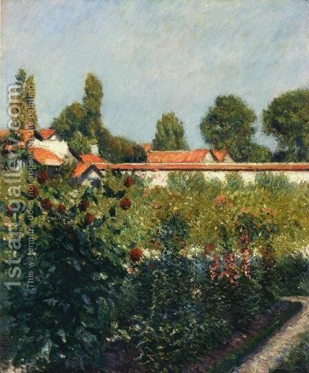 The Garden Of Petit Gennevillers  The Pink Roofs by Gustave Caillebotte - Reproduction Oil Painting