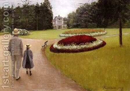 The Park On The Caillebotte Property At Yerres by Gustave Caillebotte - Reproduction Oil Painting