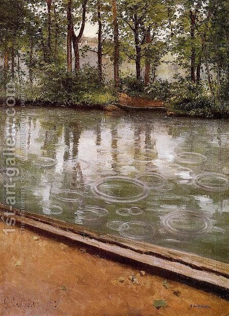 The Yerres  Rain Aka Riverbank In The Rain by Gustave Caillebotte - Reproduction Oil Painting