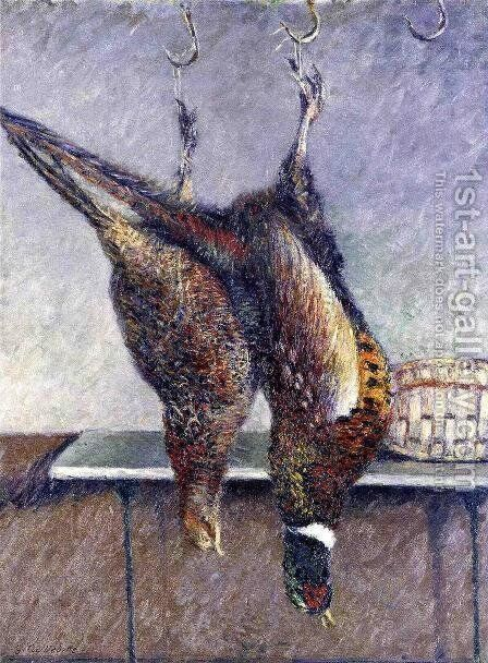 Two Hanging Pheasants by Gustave Caillebotte - Reproduction Oil Painting